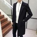2016 de otoño e invierno de los hombres de ocio de moda gabardina larga chaqueta de la capa de polvo de los hombres de Los Hombres de un solo pecho trinchera envío gratis