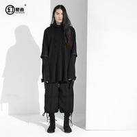 В японских мужские свободные Фальшивое Болеро ленты негабаритных балахон свитер с капюшоном пальто карман без застежки