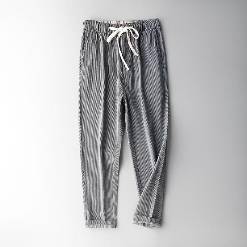 100% Leinen Männer Hosen Plus Größe 4xl Vertikale Streifen Atmungsaktive Herren Hosen Dünne Männer Elastische Taille Hosen Y288