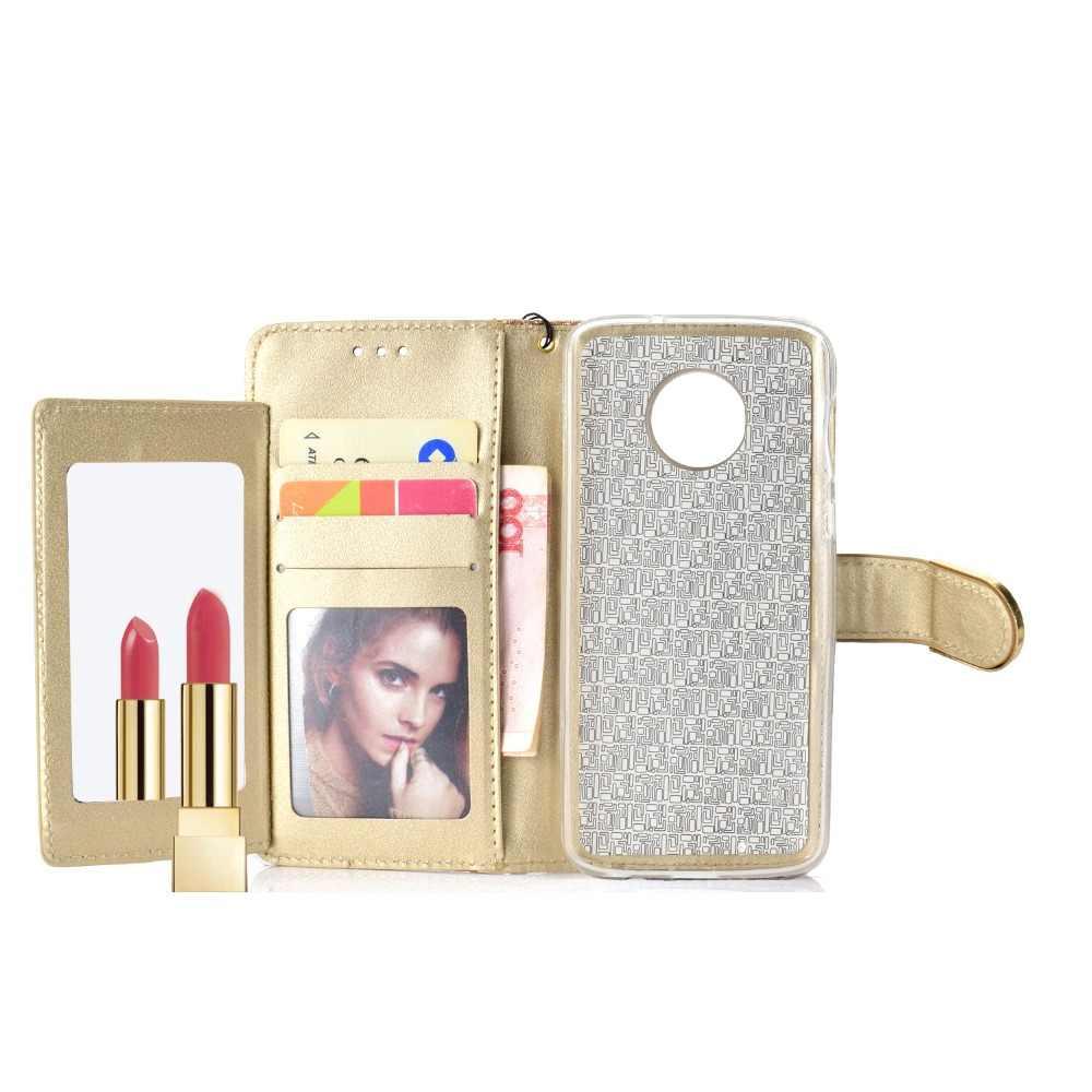Luxe 3D Bling Strass PU Lederen Portemonnee voor Moto Motorola G6 Plus G6 Play Case Flip Magnetische Bling Button Beschermende cover