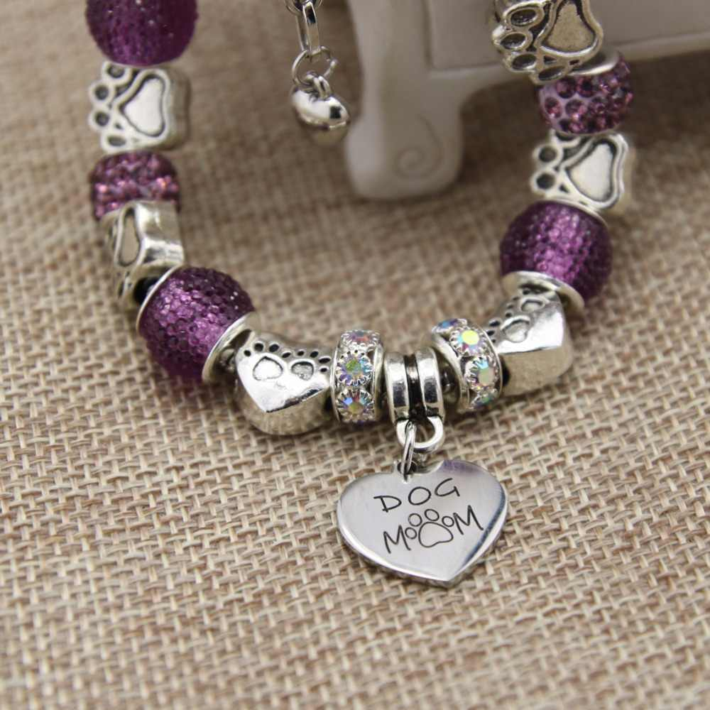 Luxury stainless steel Heart Charm Bracelets & Bangles Dog mom and cat mom pendant Bracelets For Women Original DIY Jewelry Gift