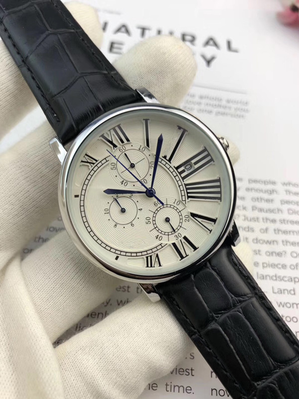 2019 marque de luxe célèbre Unique montre en cuir à Quartz homme grande montre hommes relogio masculino - 5