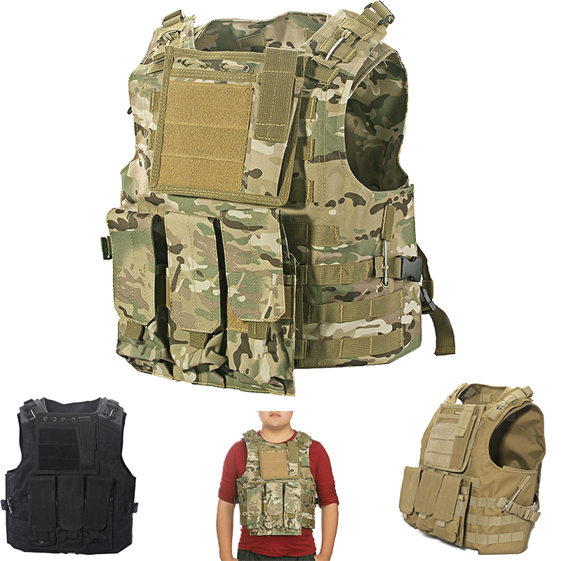 Adjustable Tactical Military Army Paintball Airsoft Combat Assault Vest airsoft adults cs field game skeleton warrior skull paintball mask