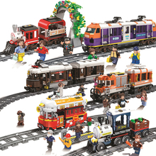 Technic Train City Set Heavy-haul Cargo Passenger Steam Train Bricks Legoes Model Building Blocks For Children Toys Kids Gift
