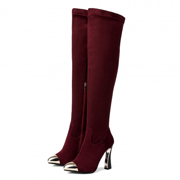 ФОТО (Wine red / Black)2017 Fashion women's Flock Sexy Over the Knee Boots High heels Nubuck Leather Riding boots for women