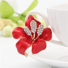Flowers Enamel Crystal Brooches
