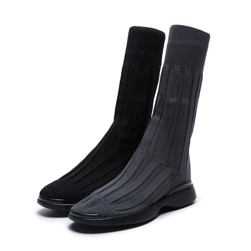 ASUMER 2018 NEW fashion knitting mid-calf boots women flat with round toe stocking boots ladies casual sneaker shoes SIZE 33-40