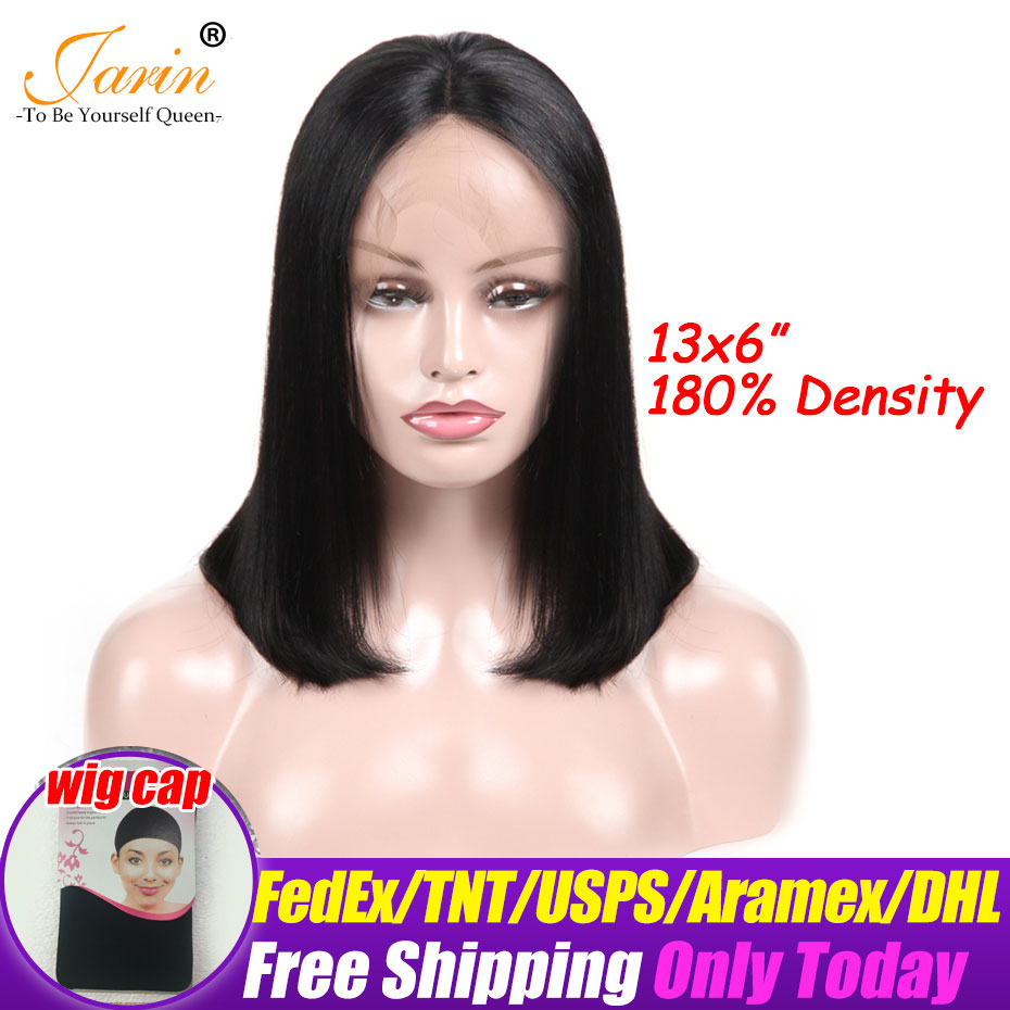 180 Density Short Lace Front Human Hair Wigs Brazilian Straight Bob Natural Wigs 13x6 Lace Frontal