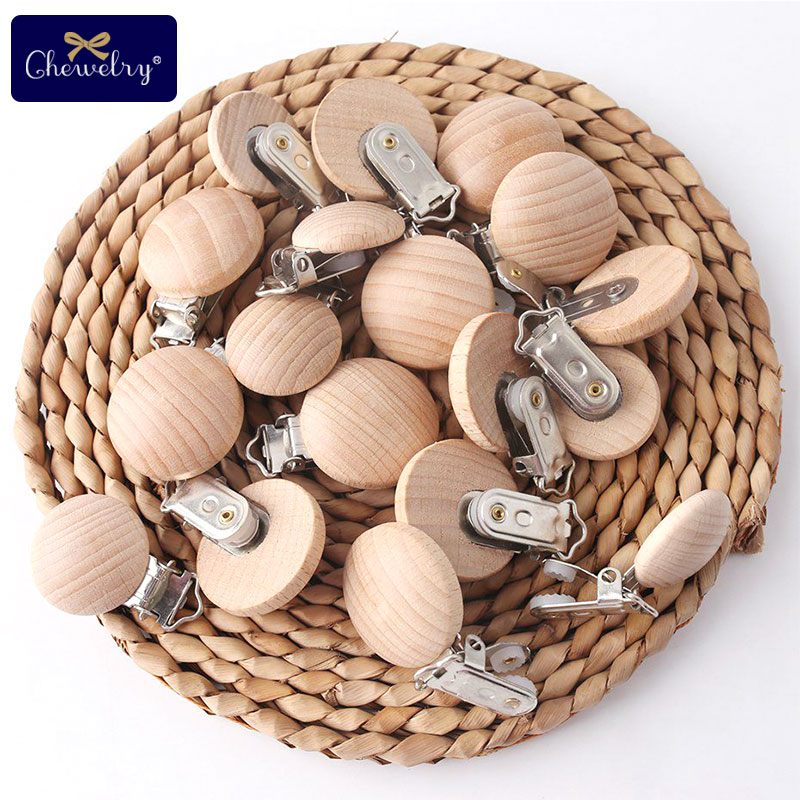 50PC Baby Pacifier Clips Beech Wooden Clips For Pacifier Chain Wood Dummy Clips Wooden Blanks Teether Holder DIY For Kid Goods