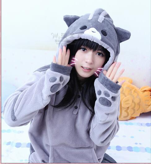 Hoodies Femei Toamna de iarna Zip Zip Ureche Cat Pulover Hooded Sweatshirt Coat Femei Treninguri Hoodie Long