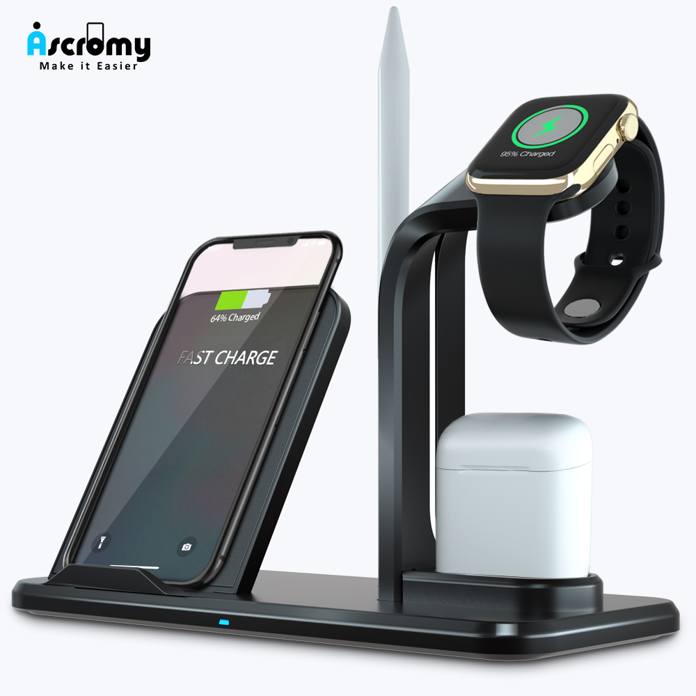 Ascromy Wireless Charger Qi 3 in 1 Holder Stand Station For Apple Watch Series 4 3 2 Iphone 11 Pro Max XS MAX XR Iwatch Airpods-in Mobile Phone Chargers from Cellphones & Telecommunications