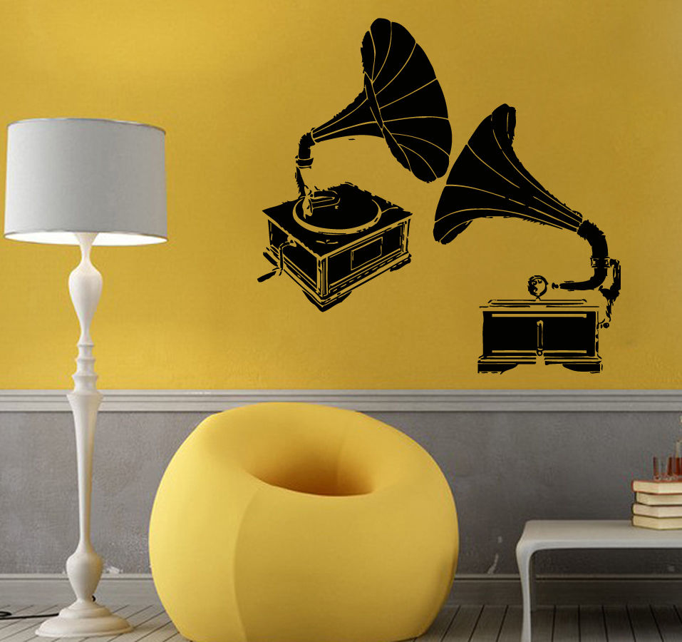 Music Vinyl Wall Decal Music Gramophone Design Musical Mural Art ...