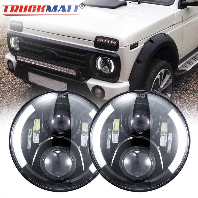 DOT EMARK 7inch LED Headlights with Halo Ring Turn Signal Light Headlamp For Jeep Wrangler Lada Niva Land Rover Defender (1pcs)