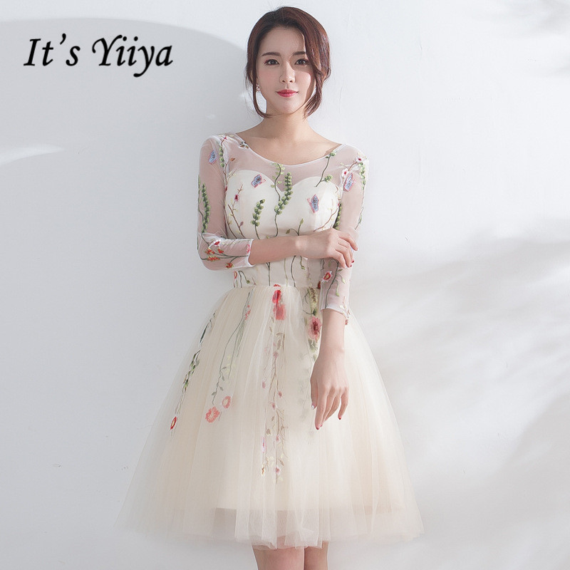 It's YiiYa Luxury Champagne Three Quarter Sleeve Floral Print Lace Cocktail Dress Knee- Length Formal Dress Party Gown LX187