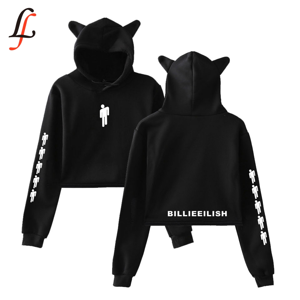Billieeilish Billie Eilish Women Sexy Cat Ear Sweatshirt Fashion Trend Cat Crop Top Hot Sale Kpop Harajuku Hoodies Sweatshirt