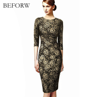 BEFORE Sexy Women Dress Fall Winter Crewneck Printing Plus Size Dresses Fashion Casual Retro Dresses