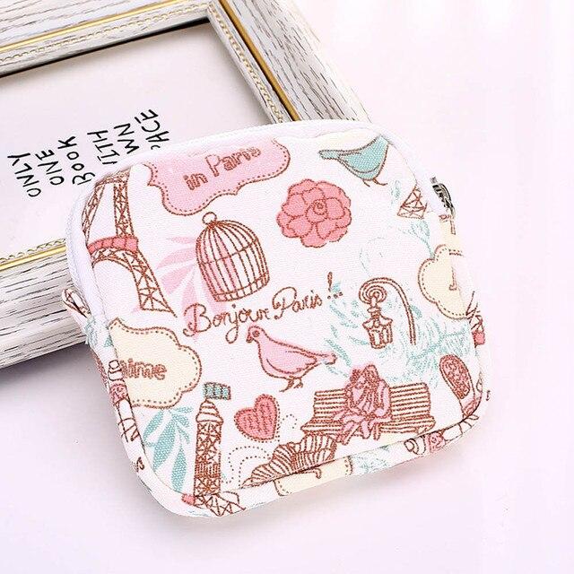 ラブリー女性ガールかわいい衛生パッドオーガナイザー財布ホルダーナプキンタオル保存袋化粧ポーチケース生理用ナプキンバッグ