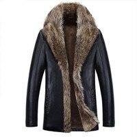 High Quality Winter Warm Overcoat Male Faux Leather Jacket Men Raccoon Fur Collar Coats Plus Size 5XL Masculina