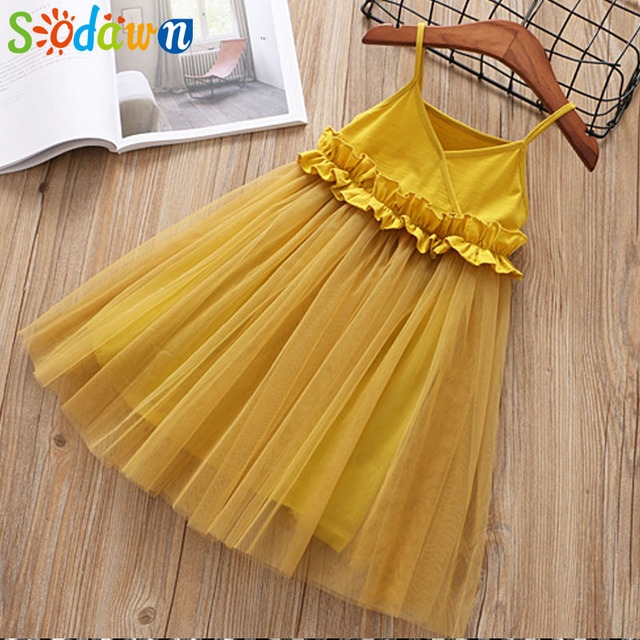 1cfb57ffe43b Sodawn 2018 Girls Cltohes Fashion Simple Princess Dress Party Gown Birthday Fashion  Baby Clothes Children Summer Kids Clothing