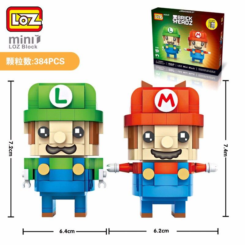 2018 Горячая LOZ Марио et Luigi 2in1 Мини блоков brique têtes, один фигурку joue + 384 шт. 1706