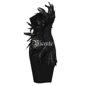 Image 3 - VC 2020 New Trendy Elegant Feather Design Sexy Strapless Backless Sleeveless Celebrity Party Club Bandage Mini Dress