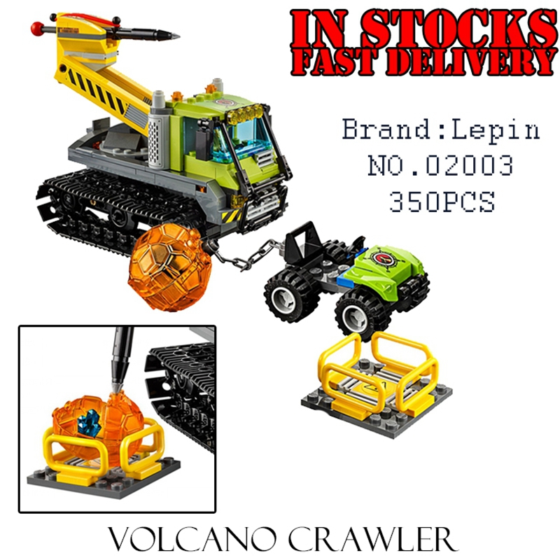Lepin 02003 350PCS CITY Volcano Crawler Building Blocks Bricks Educational Toys for children Gifts Compatible 60122 brinquedos 1710 city swat series military fighter policeman building bricks compatible lepin city toys for children