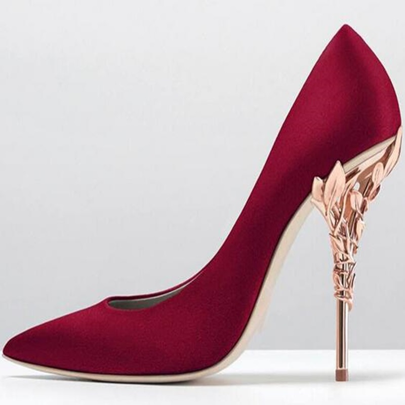 New Arrivals Red Satin Gold Leaf High Heel Pumps Pointed Toe Slip-on Women Wedding Party Dress Shoes Sexy Bride Heels Pumps woman rose red suede high heels sexy pumps gold side metal thin heel wedding dress shoes pointed toe slip on female shoes