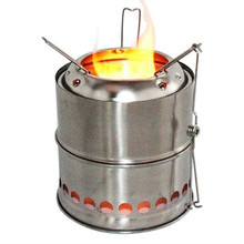 Wnnideo Portable Stainless Steel Wood Burning Camping Stove Environmental Mini Stove for Outdoor, Picnic and Traveling