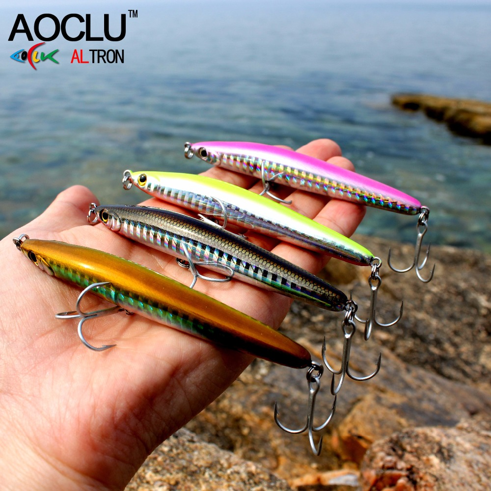 AOCLU wobblers Super Quality 4 Colors 9.5cm 17g Hard Bait Minnow Crank VIB Stik Fishing lures Bass Fresh Salt water 4# VMC hooks aoclu wobblers super quality 6 colors 60mm hard bait minnow crank popper stick fishing lures bass fresh salt water 10 vmc hooks
