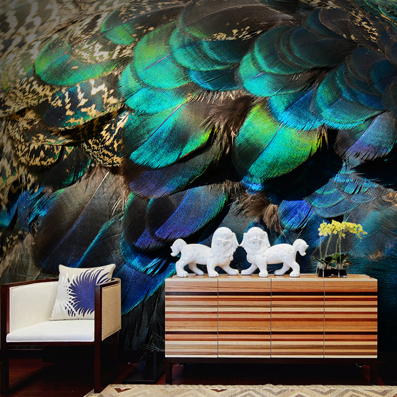 3D Papel Mural Peacock Feathers Wallpaper for Living room Sofa Background 3d Wall Photo Murals Wall paper 3d Wall stickers
