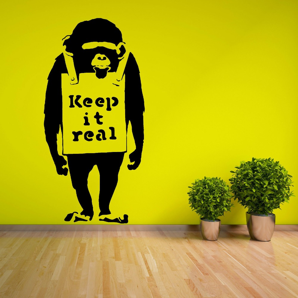 2925eaa47150ab Vinyle Amovible Bansky Chimpanzé Avec Keep It Real Citations Sticker Mural  salon Maison Mur Art Décoration Murale Y-862