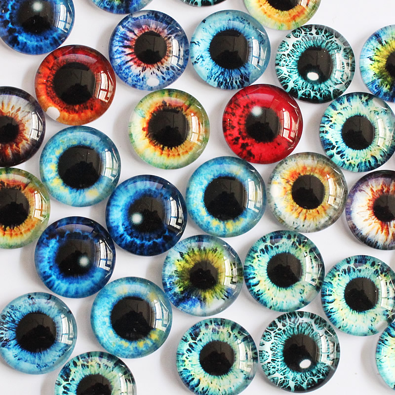 14mm Random Mixed Dragon Eyes Round Glass Cabochon Flatback Photo Dome Accessory Earrings Base In Pairs 30pcs/lot K05368