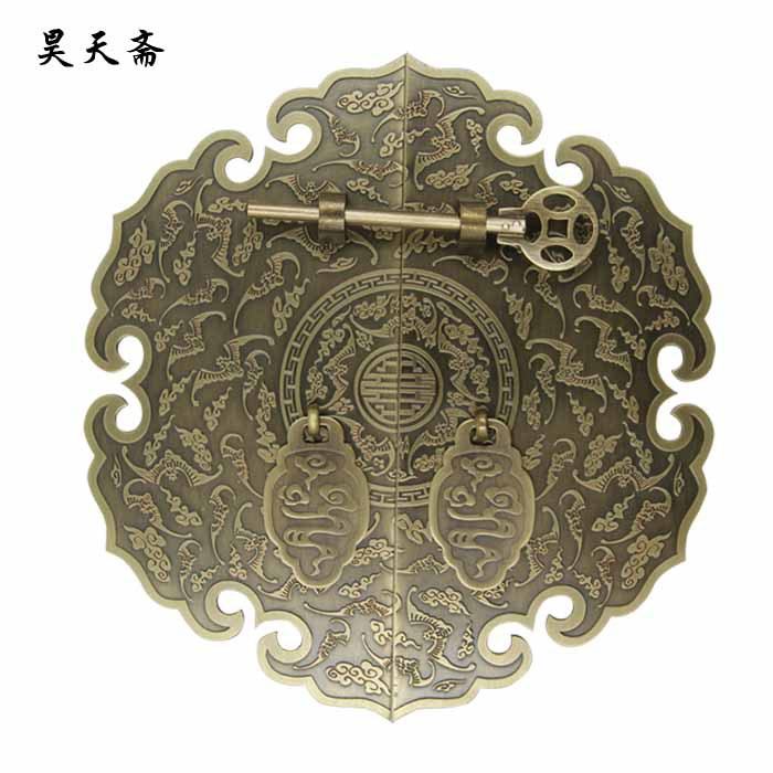 [Haotian vegetarian] bronze Chinese furniture of Ming and Qing antique copper fittings copper live Tongsuo piece door handle [haotian vegetarian chinese antique ming and qing zhang muxiang] bronze copper fittings suitable 80 100cm box