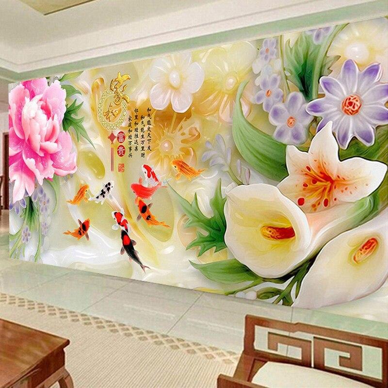 New Modern Living Room Big Size Full Drill Diamond Painting 5D DIY Jade Canvas Flowers Fish