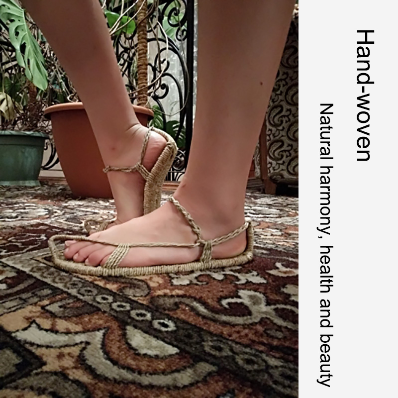 AGESEA summer new linen straw slippers hand woven ladies casual sandals retro lovers shoes stage performance