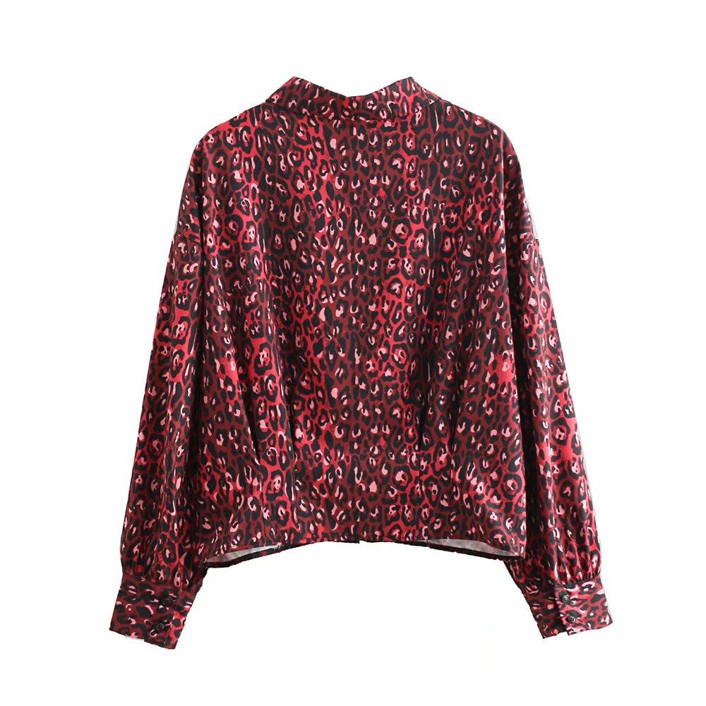 Mujer Borgoña Larga Turn Print Casual Down Señora Leopard Oficina Trabajo Collar Camisa Tops Vintage Manga Corta Blusa AfqIBHq