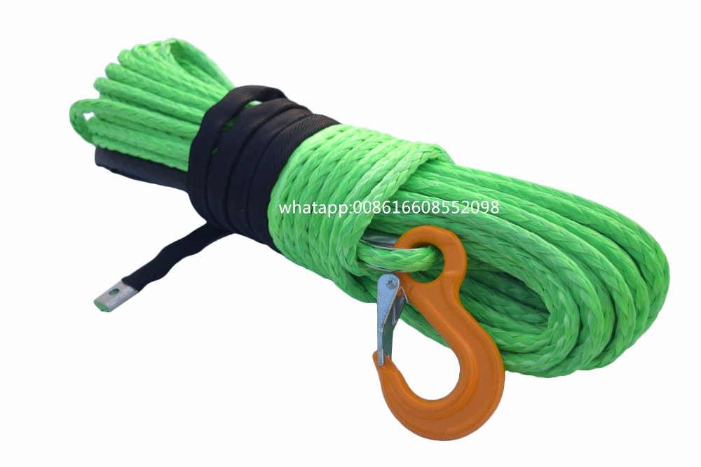 Green 3/8*100ft Synthetic Winch Rope,Plasma Winch Cable 10mm for Auto Parts Electric Winches