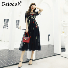 Delocah Women Spring Summer Dress Runway Fashion Designer Short Sleeve Gorgeous Embroidery Black Printed Mesh A-Line Lady
