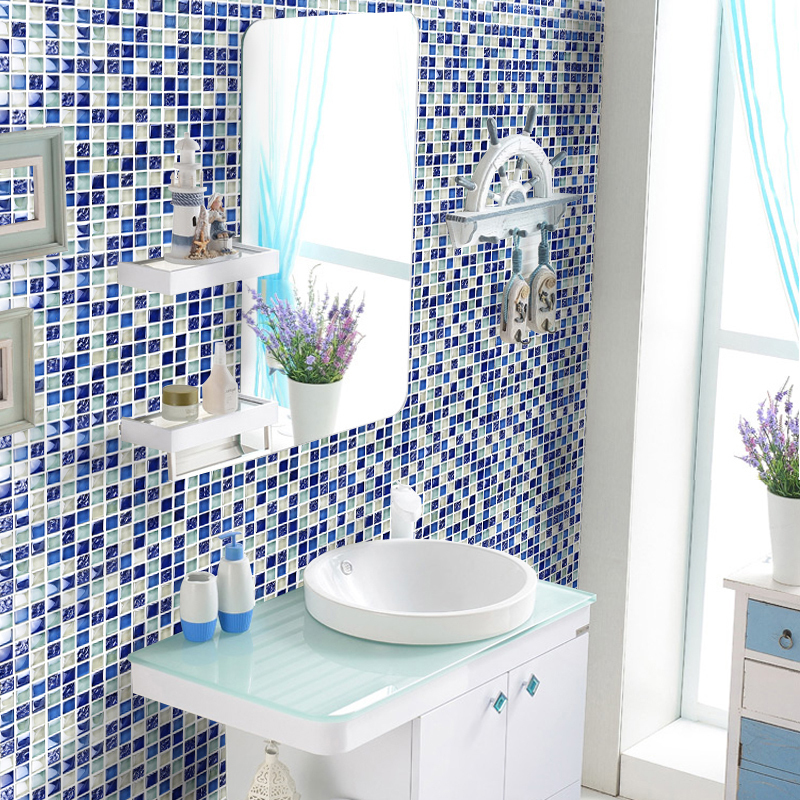 Bathroom wall mosaics sea blue glass backsplash mirror design ...