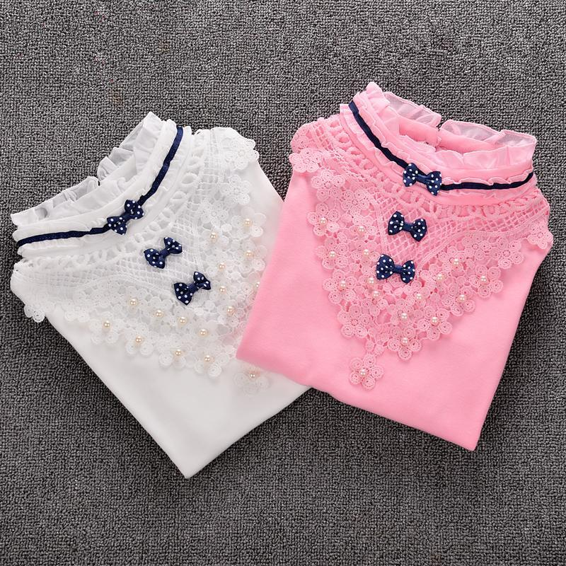 Children Clothing Girls Lace Blouse 2017 New Spring Bow Child Shirt Cotton Long Sleeve Tops Shirt