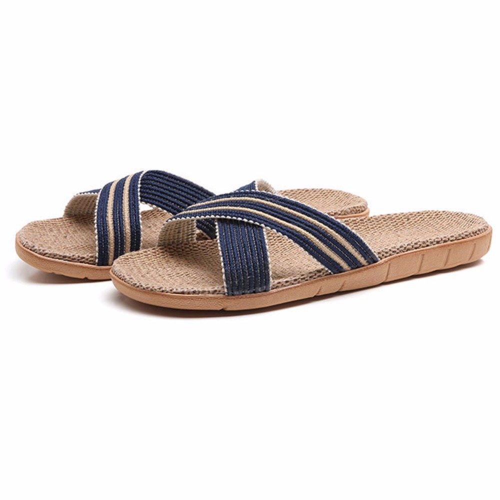HRFEER Unisex Flax Slippers Summer Breathable Lightweight Flat - Men's Shoes - Photo 2