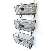 Storage Basket 3pcs Wire Letter Mail Mount Metal Rack Basket Vintage Organizer Black Laundry Basket Wall Shelf Storage Holder