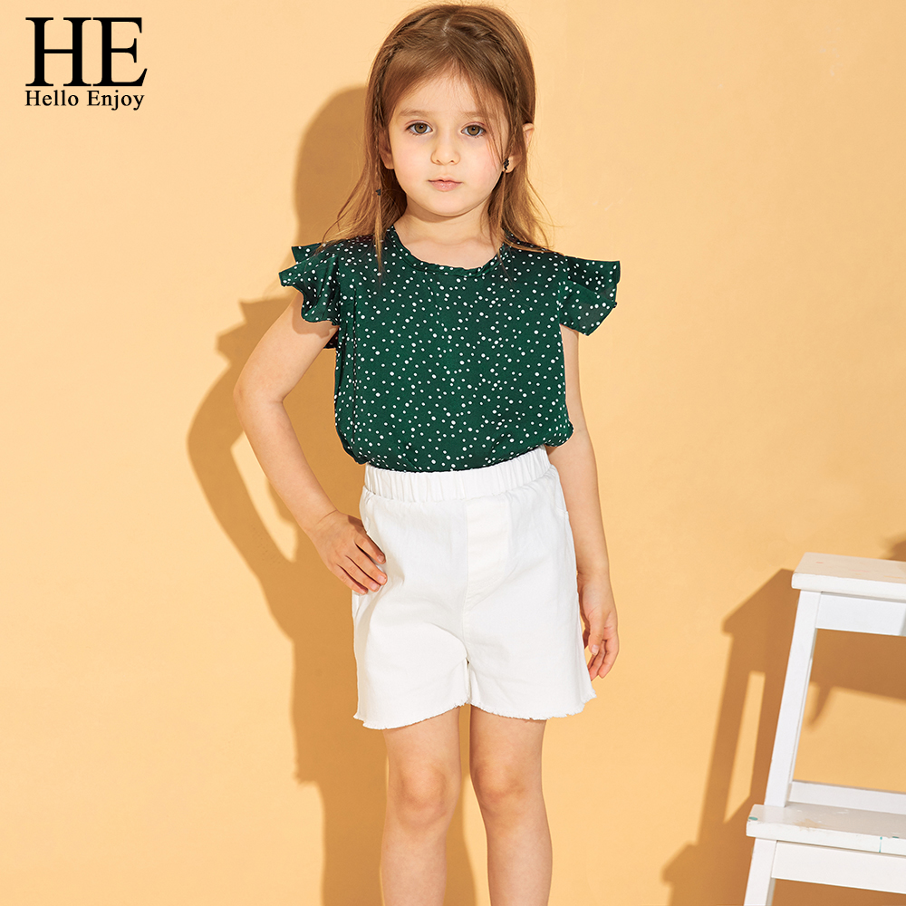 HE Hello Enjoy Kids Clothes Newest Girl Clothing Sets Summer Children Dot Green Casual Vest+Shorts Princess Outfit Cute