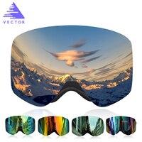 VECTOR Professional Ski Goggles Double Lens UV400 Anti Fog Adult Snowboard Skiing Glasses Brand Women Men