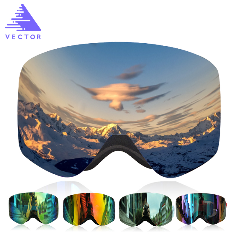 VECTOR Professional Ski Goggles Double Lens UV400 Anti-fog Adult Snowboard Skiing Glasses Brand  Women Men Snow Eyewear polisi men women snowboard ski goggles uv protection anti fog double layer lens esqui snow glasses outdoor sports skate eyewear
