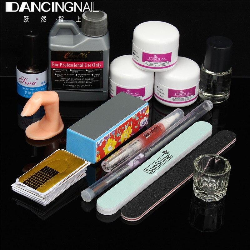 Pro Nail Art Tool Set Acrylic Liquid Powder Brush Pen Dappen Dish Buffer File Professional Manicure Salon Kits Beauty Tools