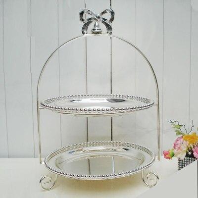 Soporte de pastel de boda europeo doble plata disco plateado té de la tarde plato de corazón pastelería sala de estar muebles artículos - 2