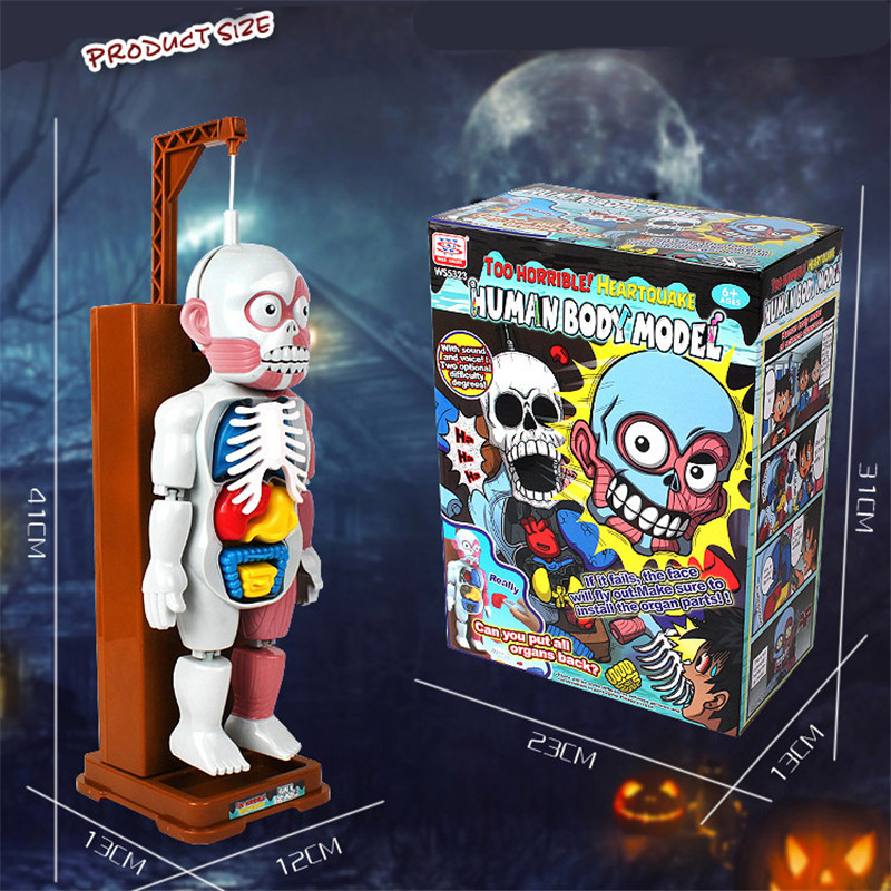 Halloween toy Scary Human body model toy Funny 4D Sound light shocking family Challenge Kid Push Plastic Design Educational Game scary lifelike spider toy with squeeze to sound effects