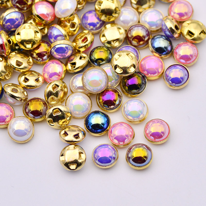 50 X 8MM PURPLE PEARL AB SEW ON BUTTONS BEADS EMBELLISHMENTS CRAFT APPLIQUE GOLD