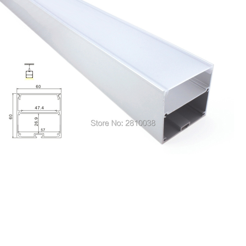 10X 1M Sets/Lot 60mm U aluminium profile for led strips and Office lighting led profile for suspending or pendant lamps 5 30 pcs lot 1m aluminum profile for led strip milky transparent cover for 12mm pcb with fittings embedded led bar light